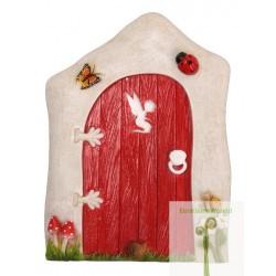 Fairy door levendig rood