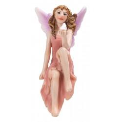 Fairy zittend roze jurk