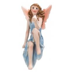 Fairy zittend blauwe jurk