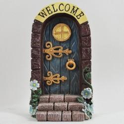 Fairy door (XL) Welkom boven blauwe deur met trap