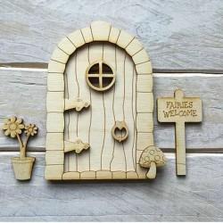 Houten fairy deur 3D-Rond-Bloem-Bord