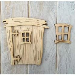 Houten fairy deur 3D Rechthoekig met raam