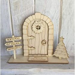 Houten staande fairy deur 3D-Kerstboom en Wegwijzer