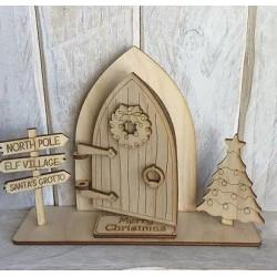Houten staand opengaande fairy deur 3D-Kerstboom en Wegwijzer