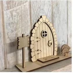 Houten staande fairy deur 3D-paddenstoel en bordje