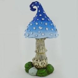 Reuzen paddenstoel met blauwe hoed
