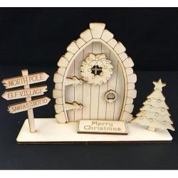 Houten Kerst fairy deur 3-D staand