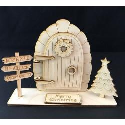 Houten staande opengaande fairy deur 3D-Kerstboom en Wegwijzer