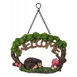 Hangend bordje Welcome met egels