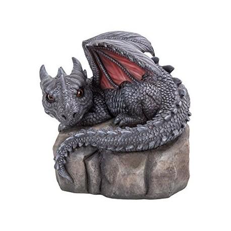 Baby (grijze) draak liggend op steen