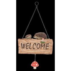 Hangend houtblok Welcome met egels