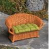 Rieten zitbank met kussen(bruin/groen)