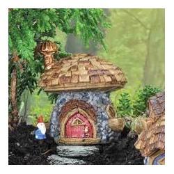 Mini paddenstoelenhuis (Dakspaandorp)