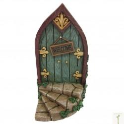 Fairy door (L) Welkom met trap blauw