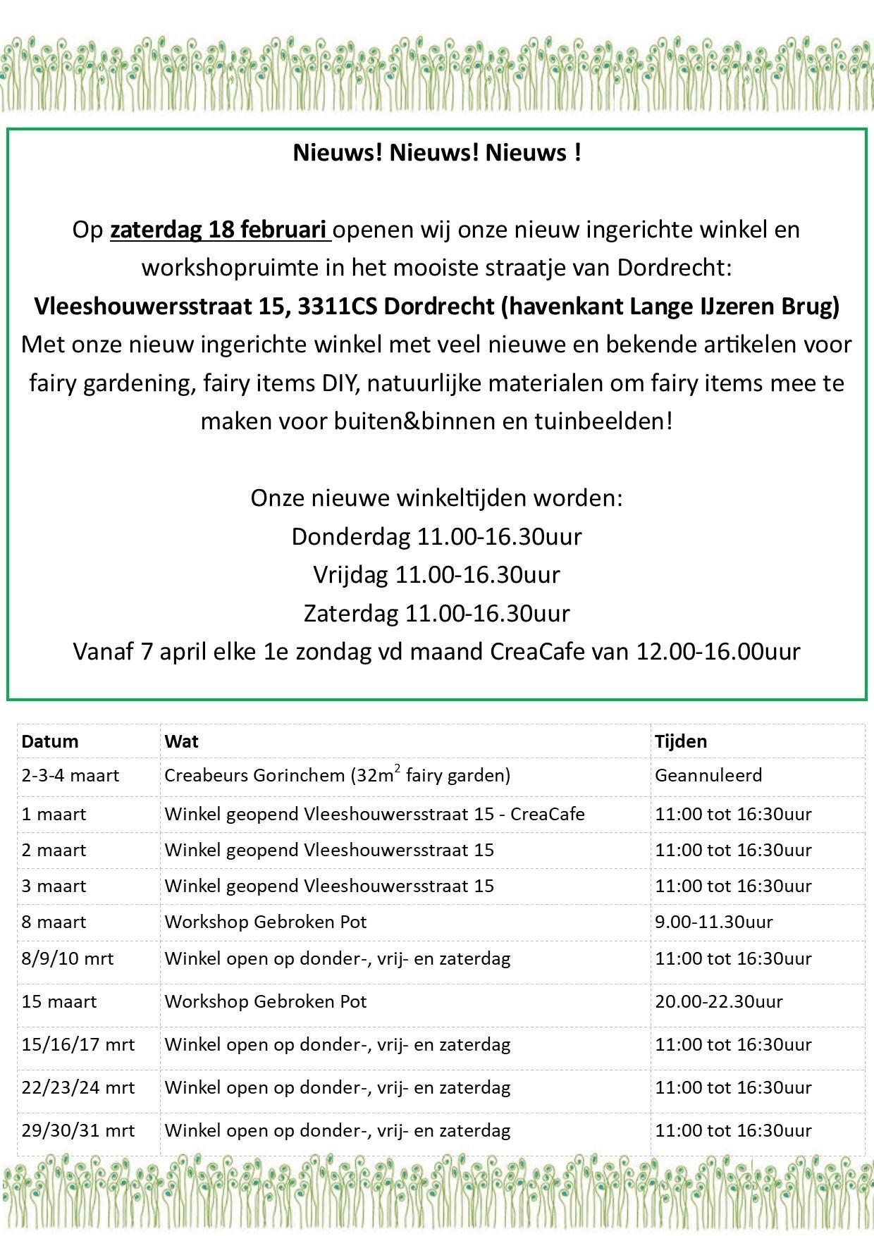 Winkel openingstijden en beurzen 1e kwartaal 2018