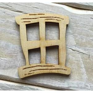 Houten fairy raam vierkant hobbit groot