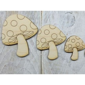 Houten paddenstoelen (set van 3)