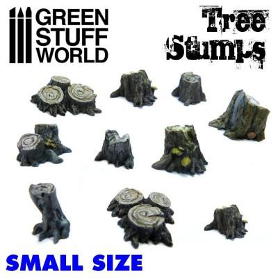 Kleine boomstronken, set van 10, ongeverfd polystone