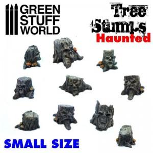 Kleine boomgeesten, set van 10, ongeverfd polystone