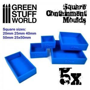 Set vierkante mallen (5 st/5 verschillende maten)