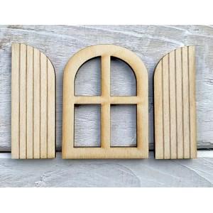Houten fairy window gebogen met 2 luiken (3-delig)