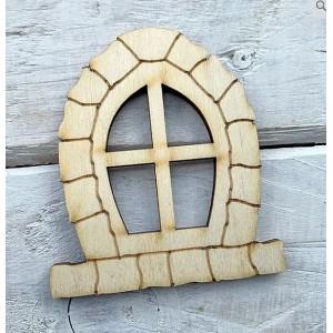 Houten fairy raam gewelfd-keien patroon groot