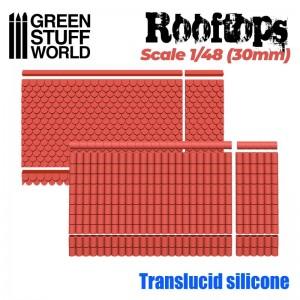 Siliconen mallen Dakpan 2 soorten 1/48 (30mm)