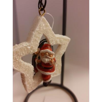 Hangende sneeuwster klein met kerstman (met hanger)