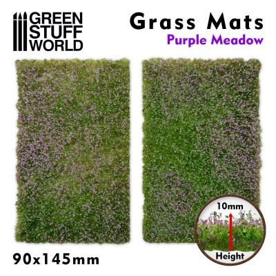 Grasmat weiland met paarse bloemen