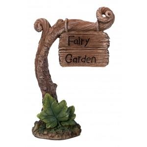 Fairy garden bordje aan tak (groot)